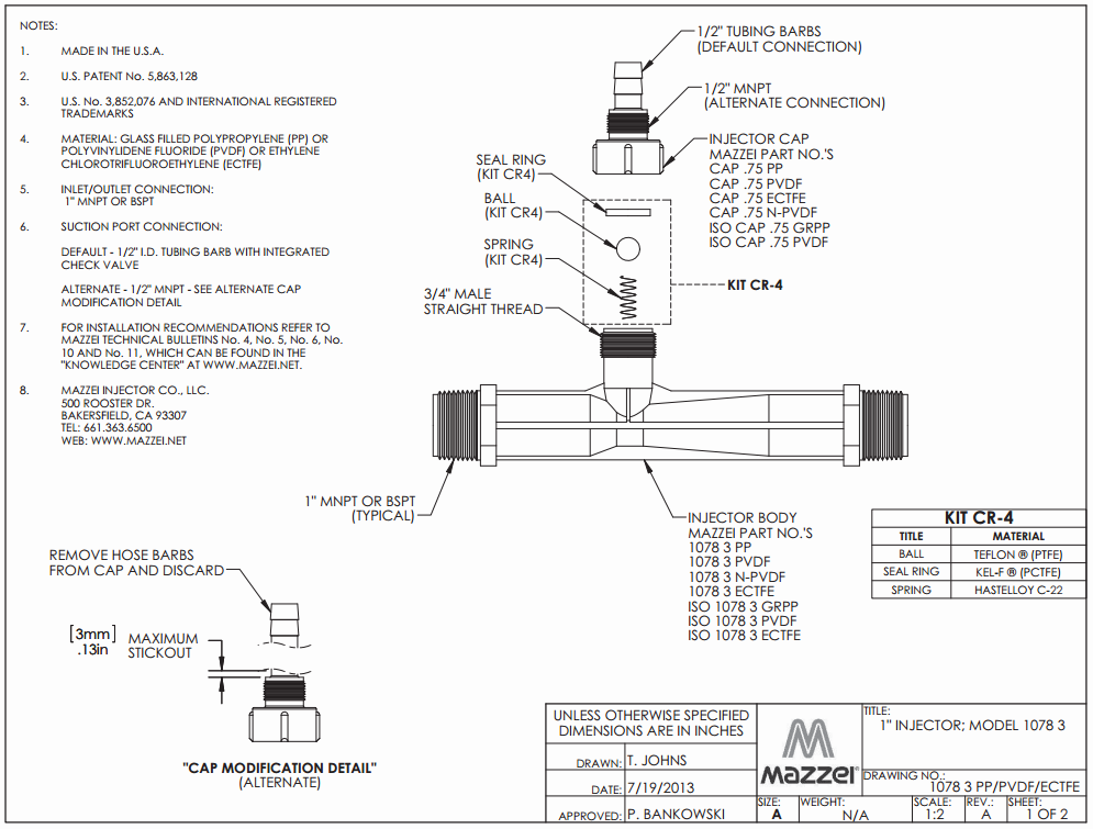 Model 1078 Venturi Injector