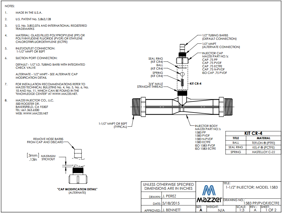 Model 1583 Venturi Injector