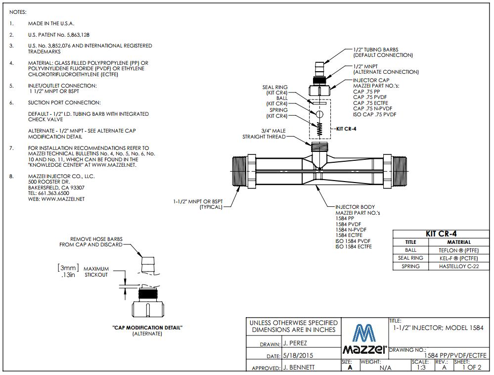 Model 1584 Venturi Injector