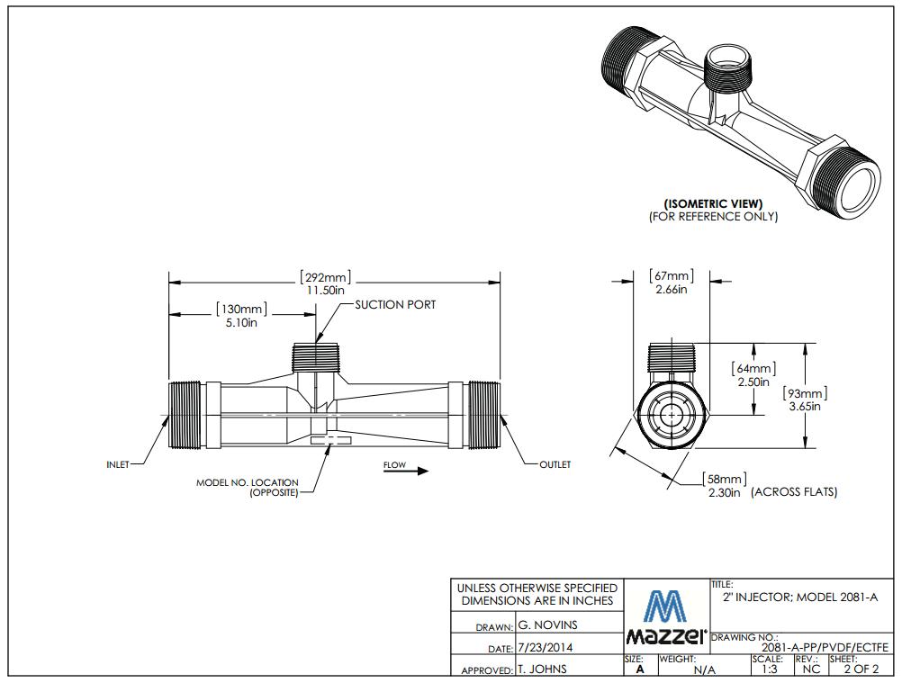 Model 2081 Venturi Injector
