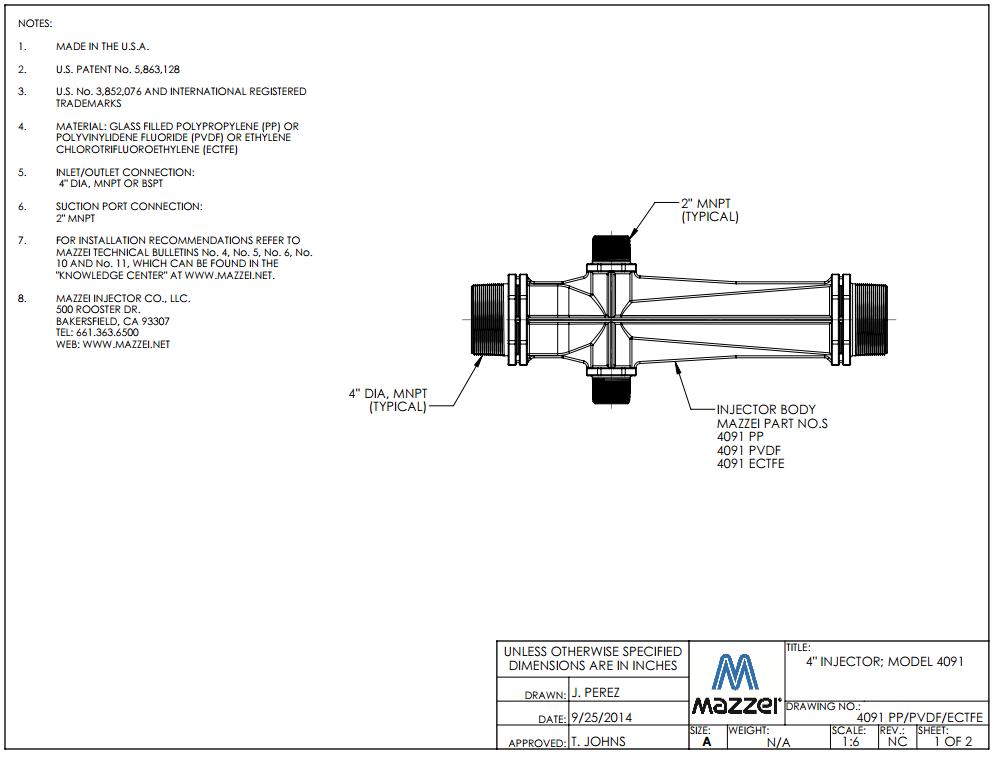 Model 4091 Venturi Injector