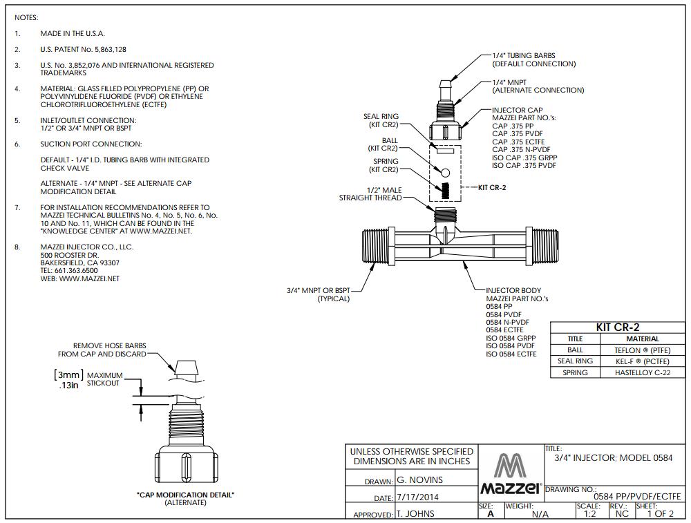Model 584 Venturi Injector