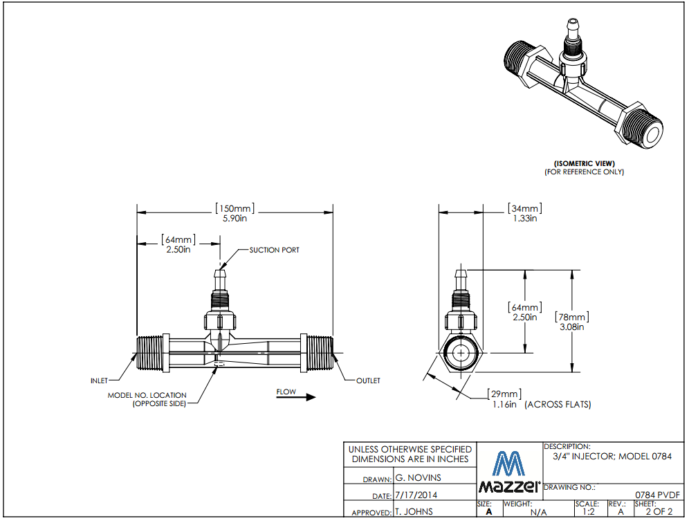 Model 784 Venturi Injector