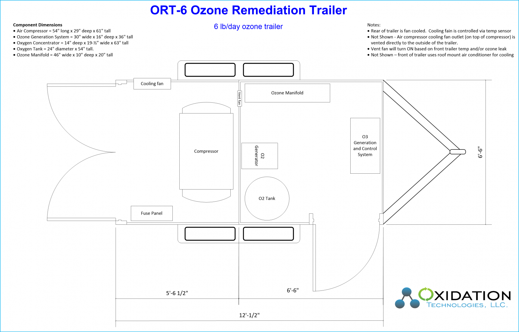 ORT-6 Ozone Remediation Trailer Diagram and layout
