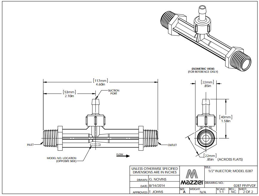 Model 287 Venturi Injector