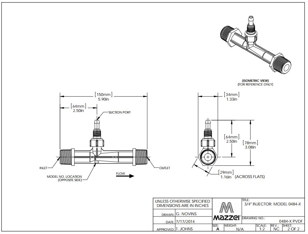 Model 484X Venturi Injector