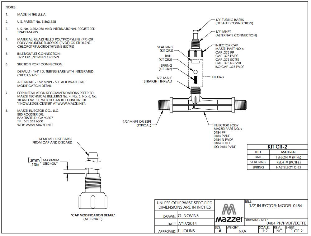 Model 484 Venturi Injector