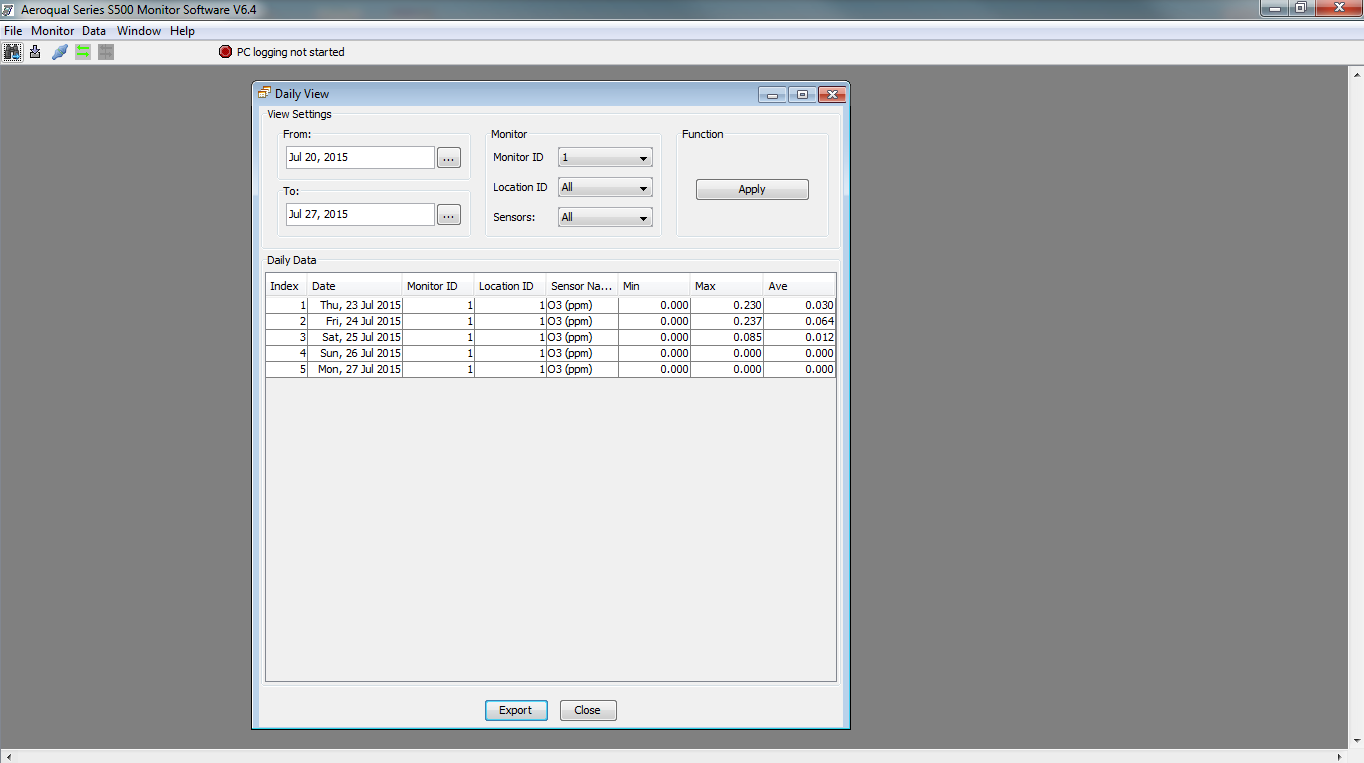 Aeroqual Data logging software