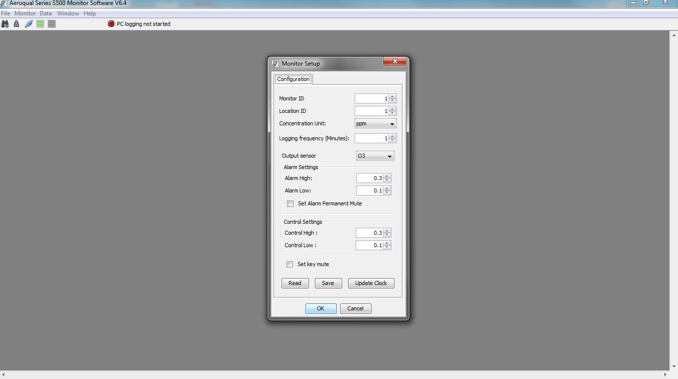 Aeroqual Monitor set-up software
