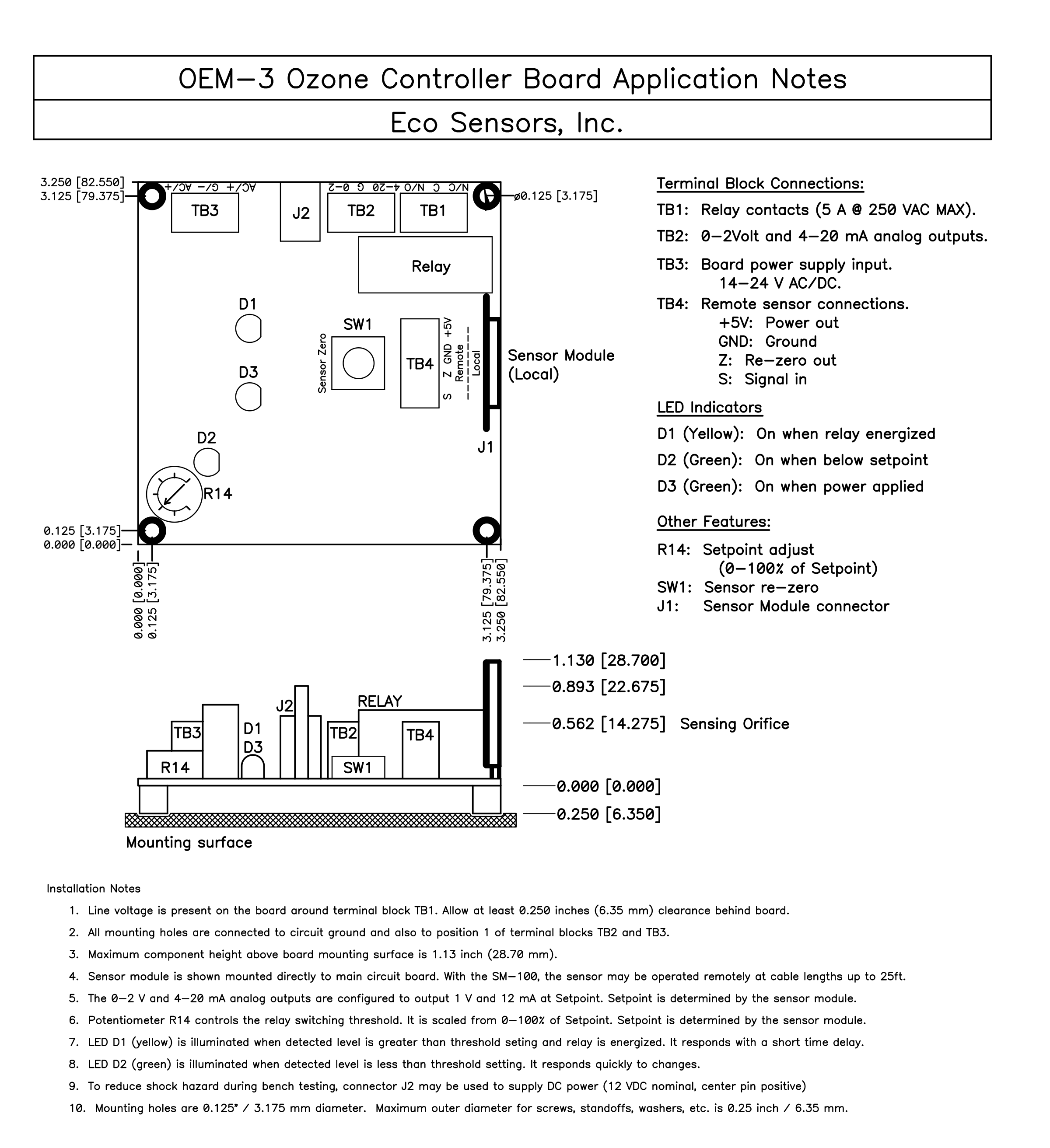OEM-3 Ozone Controller Board Drawing and Indicator Information