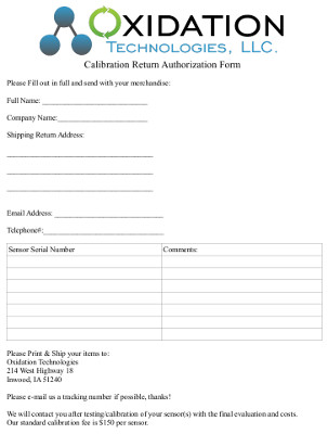 Calibration RMA Form