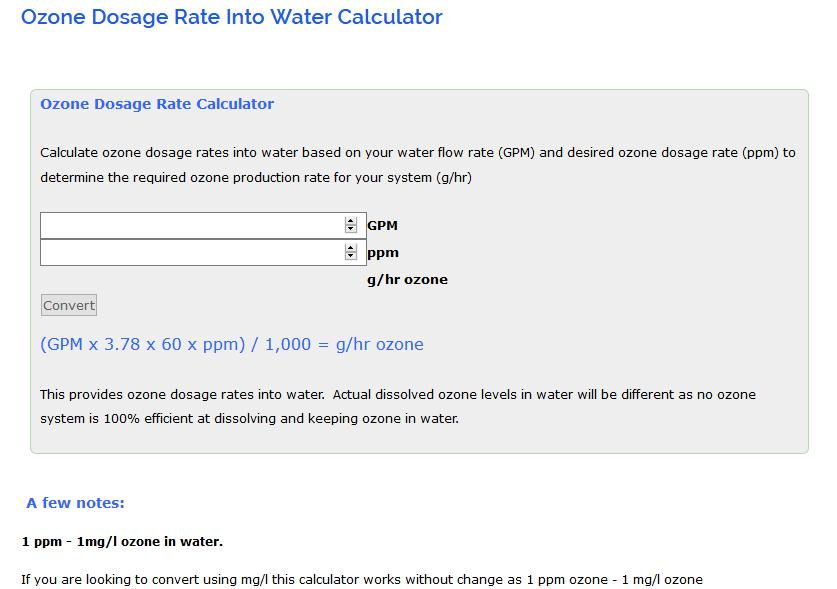 Ozone Equipment Manufacturer And System Integrators Dosage Rate Into Water Calculator Integration Experts