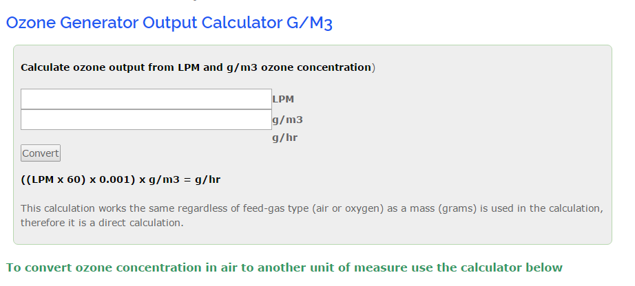 online ozone output calculator